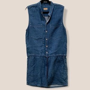 MOTHER chambray denim button front sleeveless dres